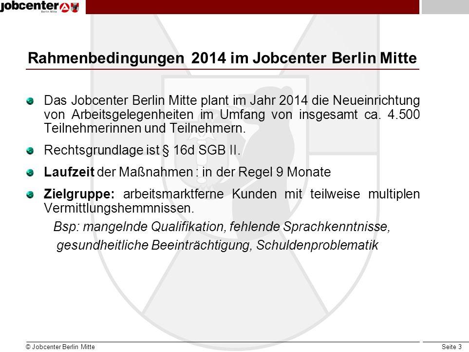 Rahmenbedingungen 2014 im Jobcenter Berlin Mitte
