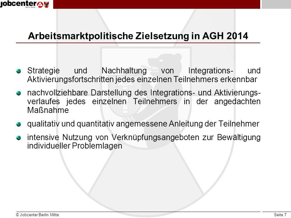 Arbeitsmarktpolitische Zielsetzung in AGH 2014