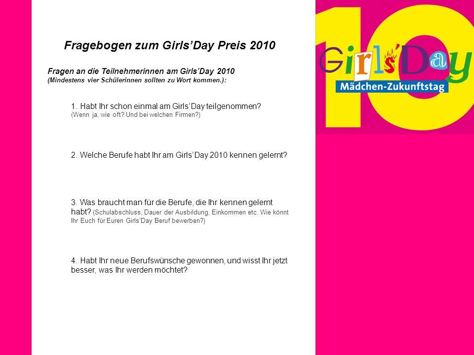Fragebogen zum Girls'Day Preis 2010