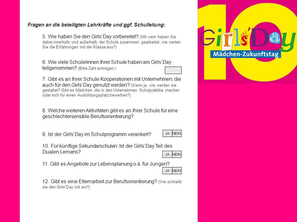 Fragen an die beteiligten Lehrkräfte und ggf. Schulleitung: