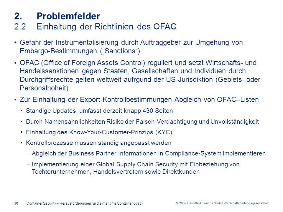 2. Problemfelder 2.2 Einhaltung der Richtlinien des OFAC