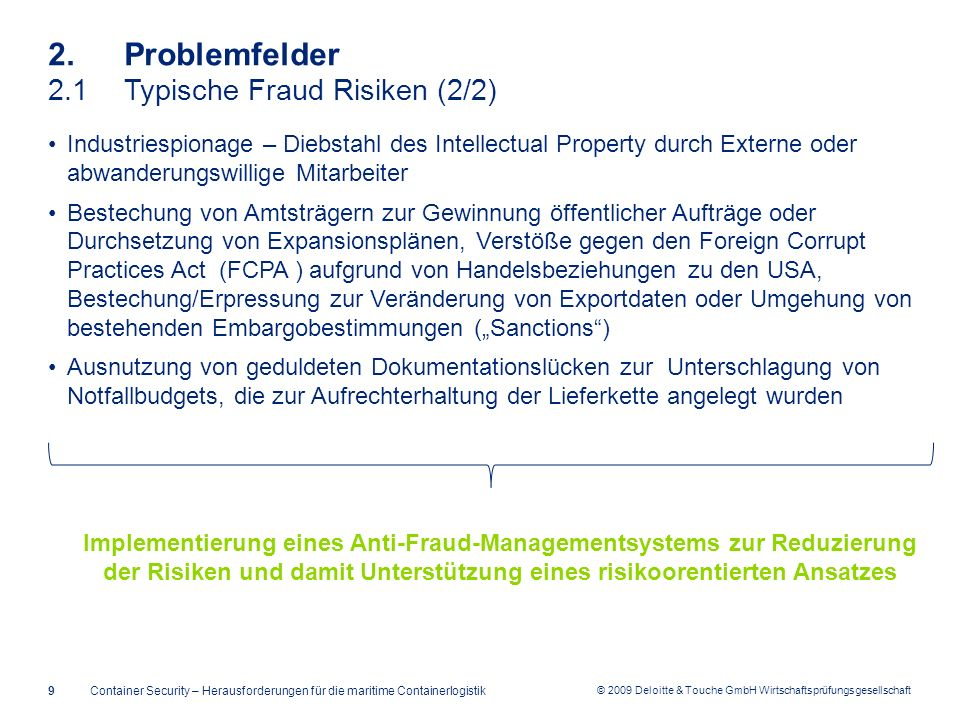 2. Problemfelder 2.1 Typische Fraud Risiken (2/2)