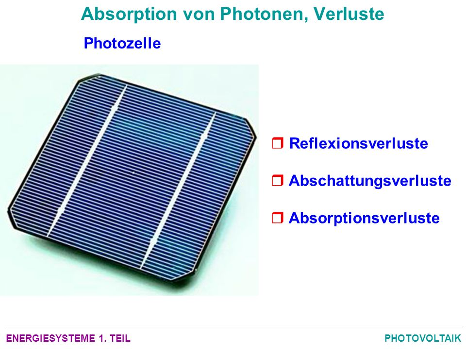 Absorption von Photonen, Verluste