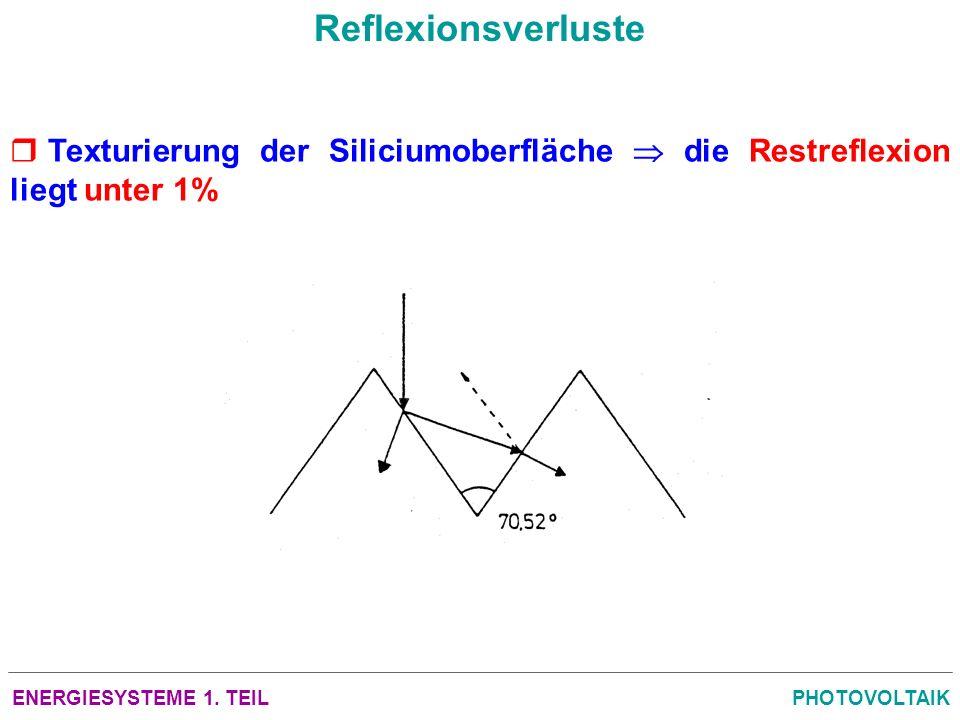 Reflexionsverluste Texturierung der Siliciumoberfläche  die Restreflexion liegt unter 1% ENERGIESYSTEME 1. TEIL.