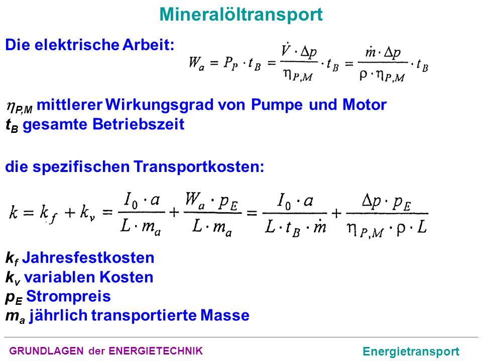 Mineralöltransport Die elektrische Arbeit: