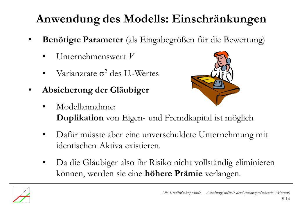 Anwendung des Modells: Einschränkungen