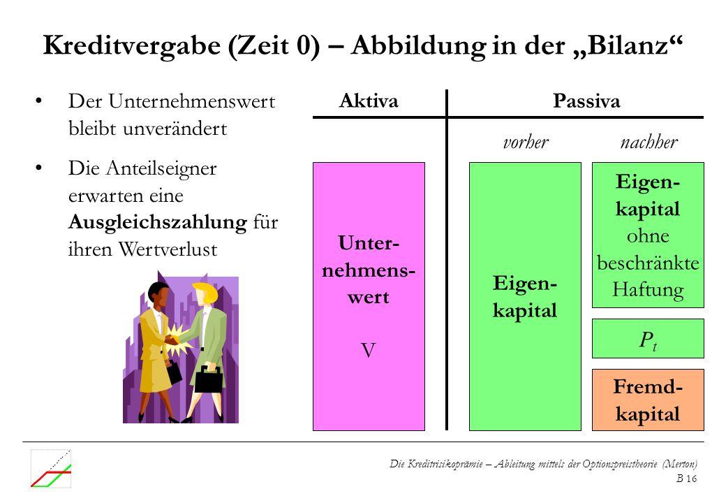 """Kreditvergabe (Zeit 0) – Abbildung in der """"Bilanz"""