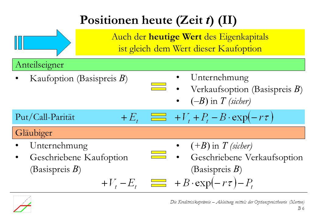Positionen heute (Zeit t) (II)