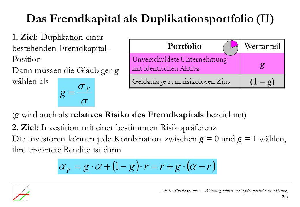 Das Fremdkapital als Duplikationsportfolio (II)