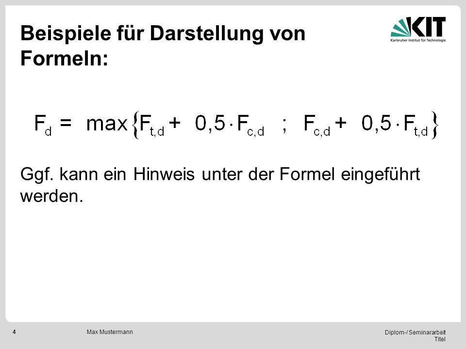 Beispiele für Darstellung von Formeln: