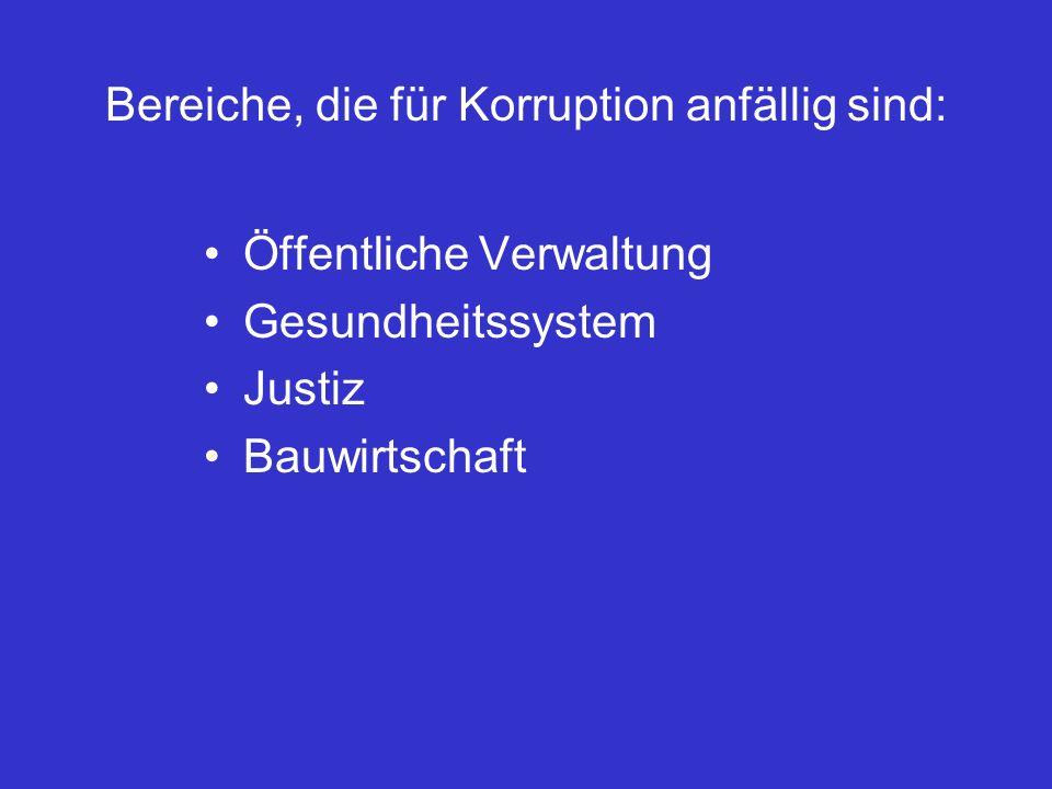 Bereiche, die für Korruption anfällig sind: