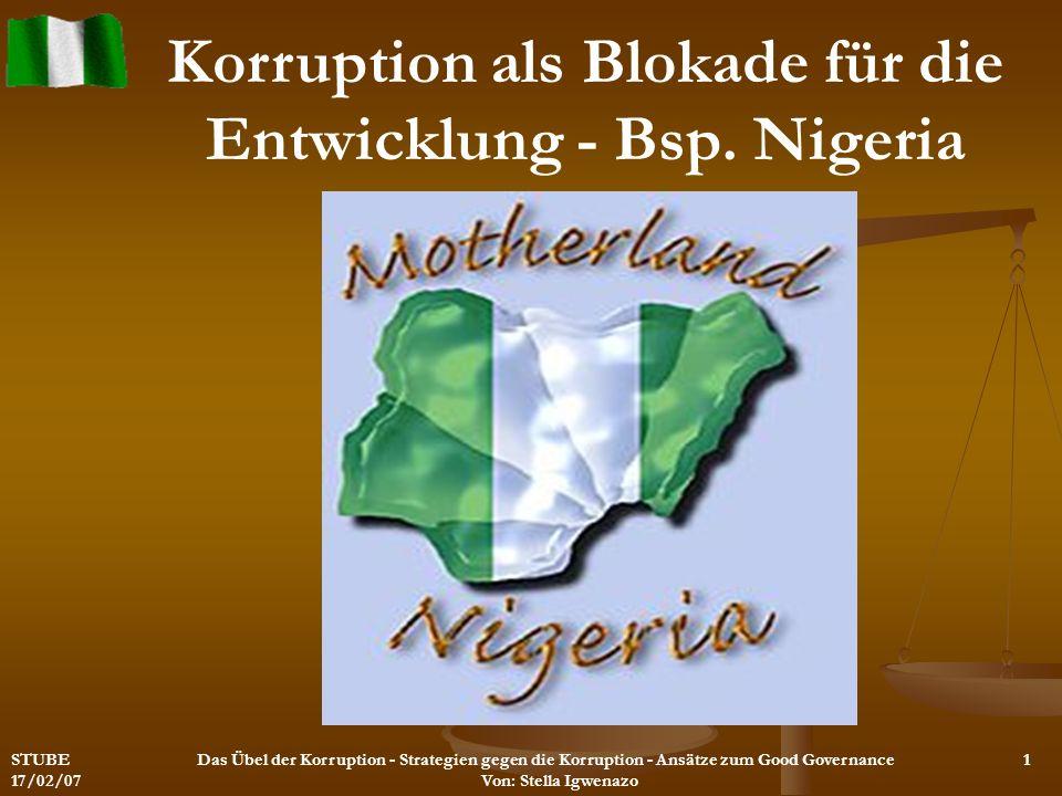 Korruption als Blokade für die Entwicklung - Bsp. Nigeria