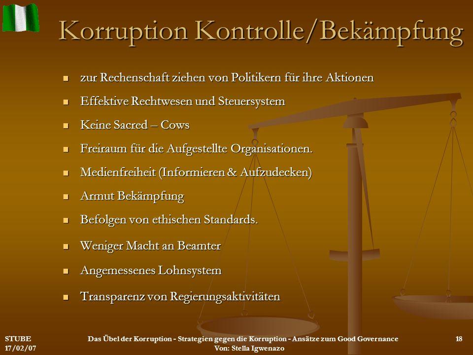 Korruption Kontrolle/Bekämpfung