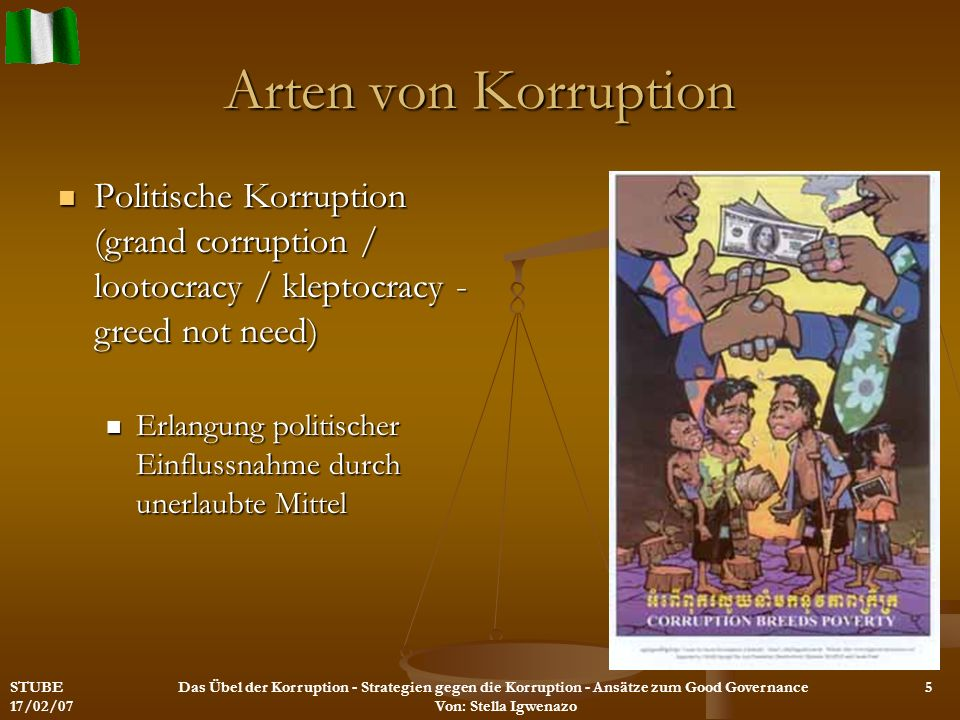 Arten von Korruption Politische Korruption (grand corruption / lootocracy / kleptocracy - greed not need)