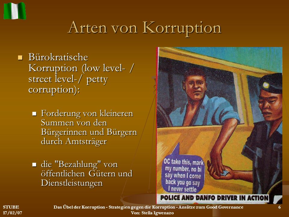 Arten von Korruption Bürokratische Korruption (low level- / street level-/ petty corruption):