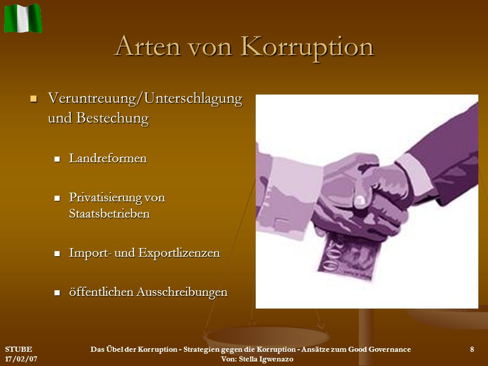 Arten von Korruption Veruntreuung/Unterschlagung und Bestechung