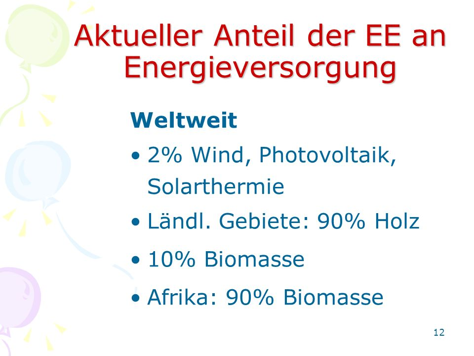 Aktueller Anteil der EE an Energieversorgung