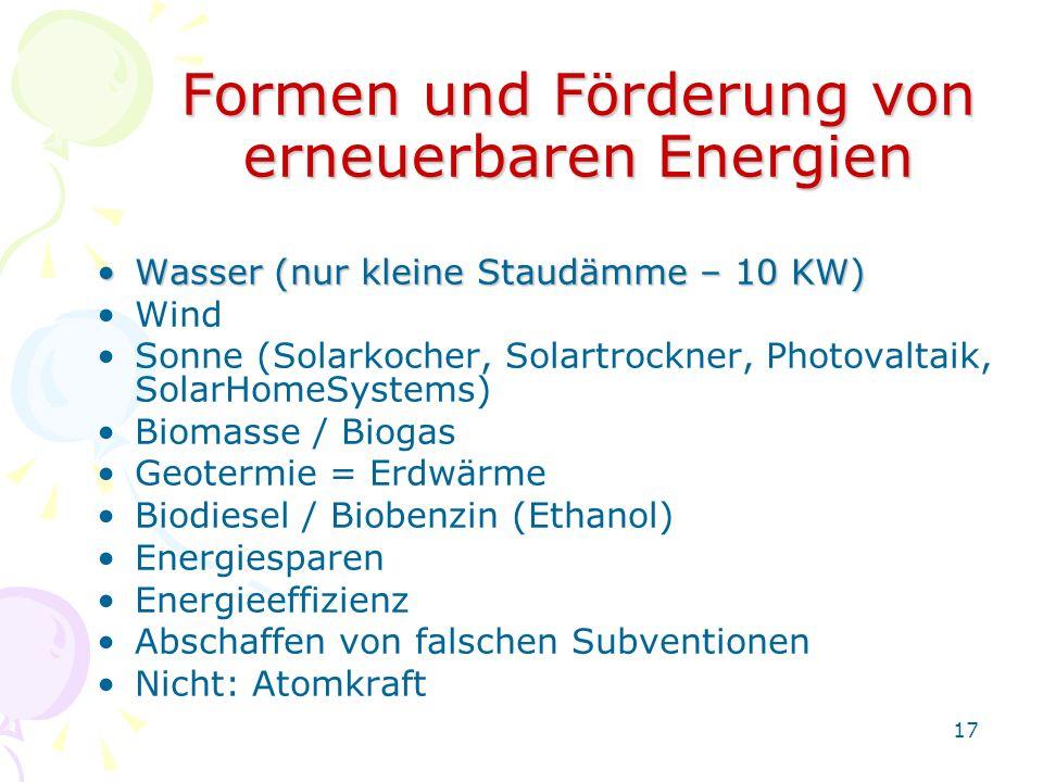 Formen und Förderung von erneuerbaren Energien