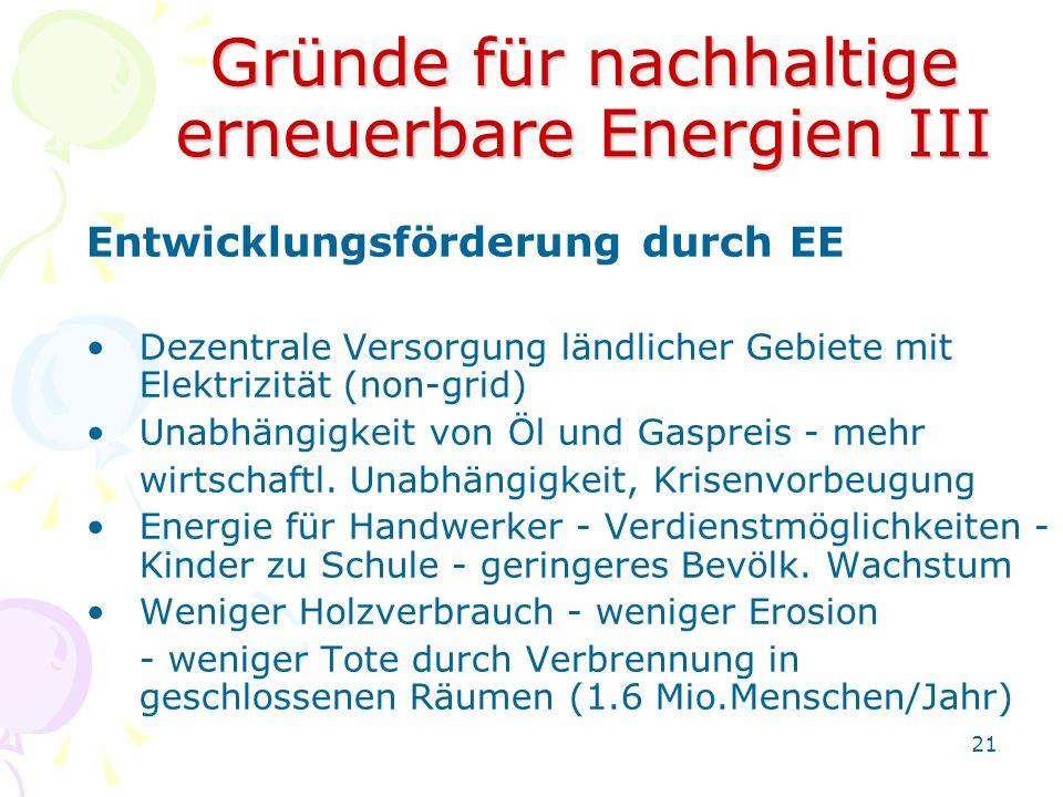 Gründe für nachhaltige erneuerbare Energien III