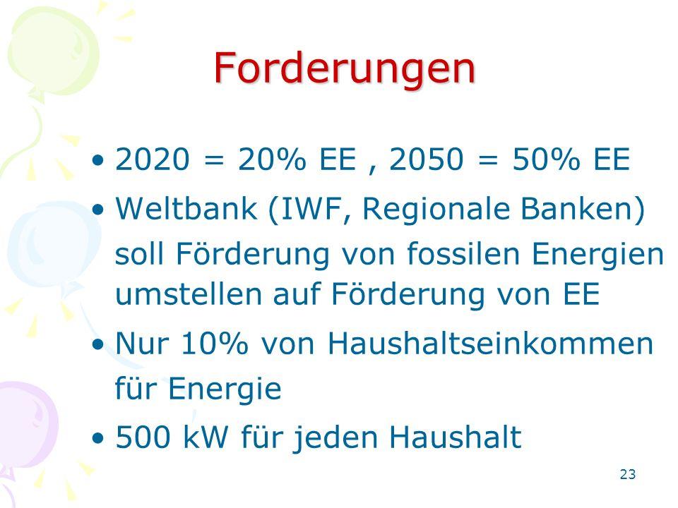 Forderungen 2020 = 20% EE , 2050 = 50% EE. Weltbank (IWF, Regionale Banken) soll Förderung von fossilen Energien.