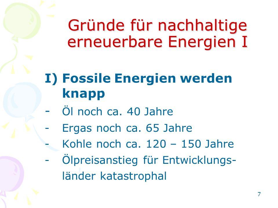 Gründe für nachhaltige erneuerbare Energien I