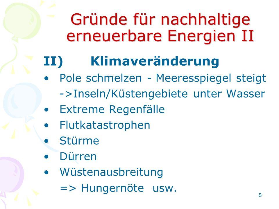 Gründe für nachhaltige erneuerbare Energien II