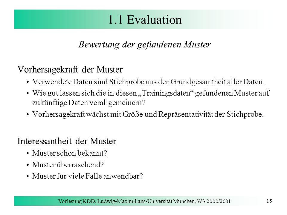 1.1 Evaluation Bewertung der gefundenen Muster