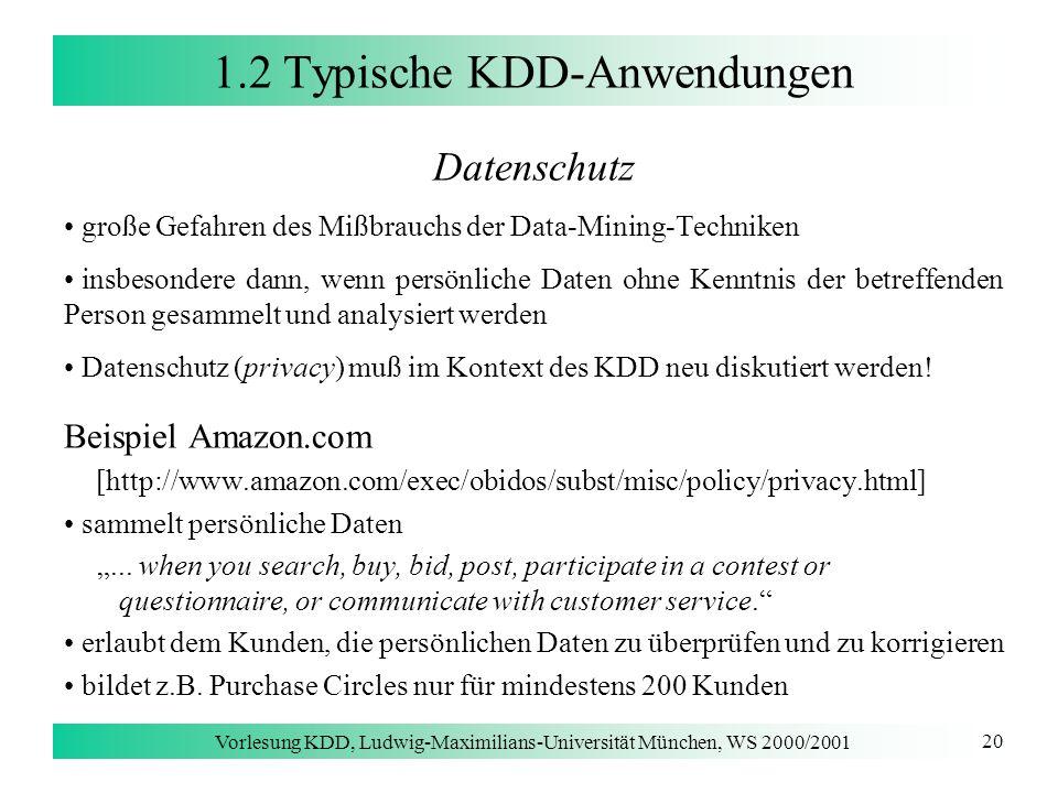 1.2 Typische KDD-Anwendungen