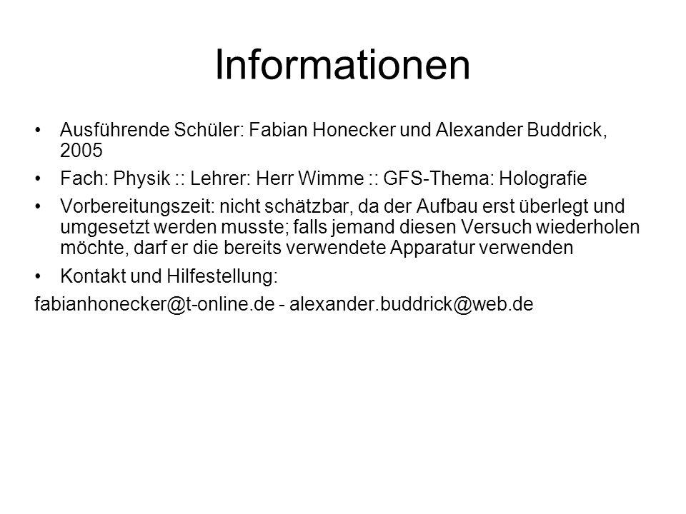 Informationen Ausführende Schüler: Fabian Honecker und Alexander Buddrick, 2005. Fach: Physik :: Lehrer: Herr Wimme :: GFS-Thema: Holografie.