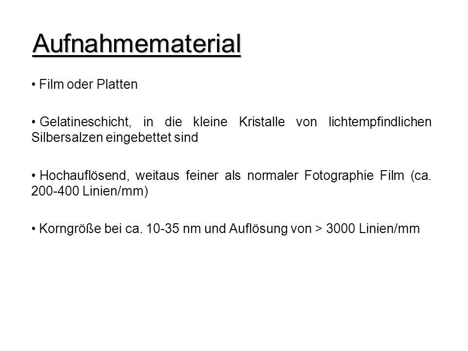 Aufnahmematerial Film oder Platten