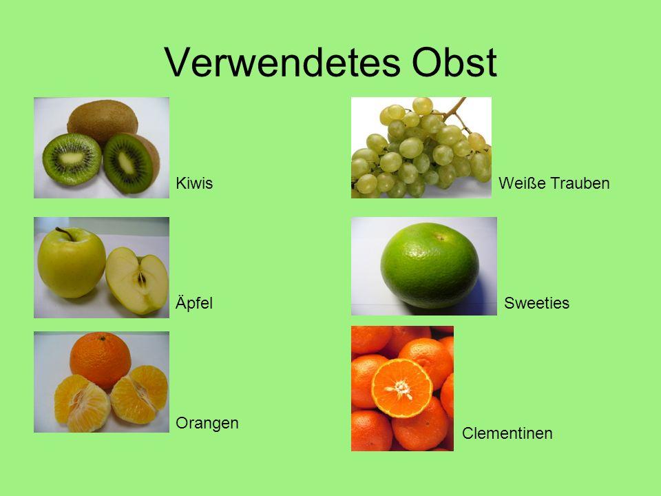 Verwendetes Obst Kiwis Weiße Trauben Äpfel Sweeties Orangen