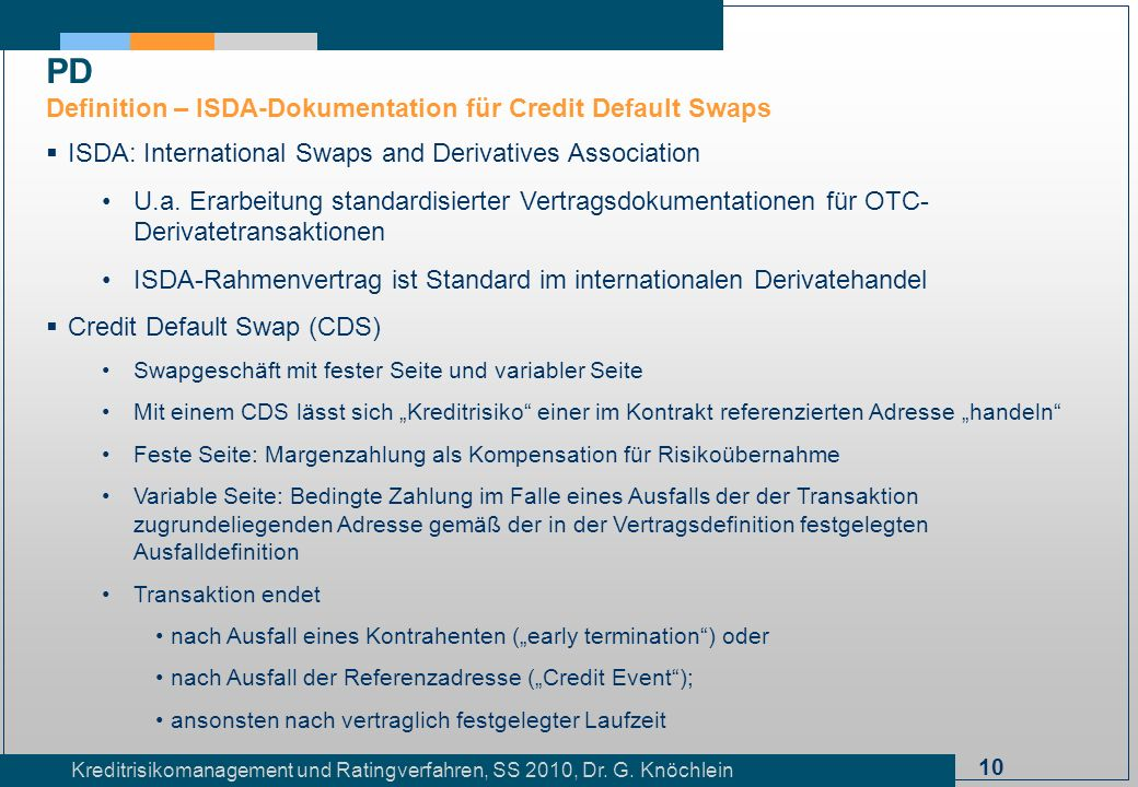 PD Definition – ISDA-Dokumentation für Credit Default Swaps