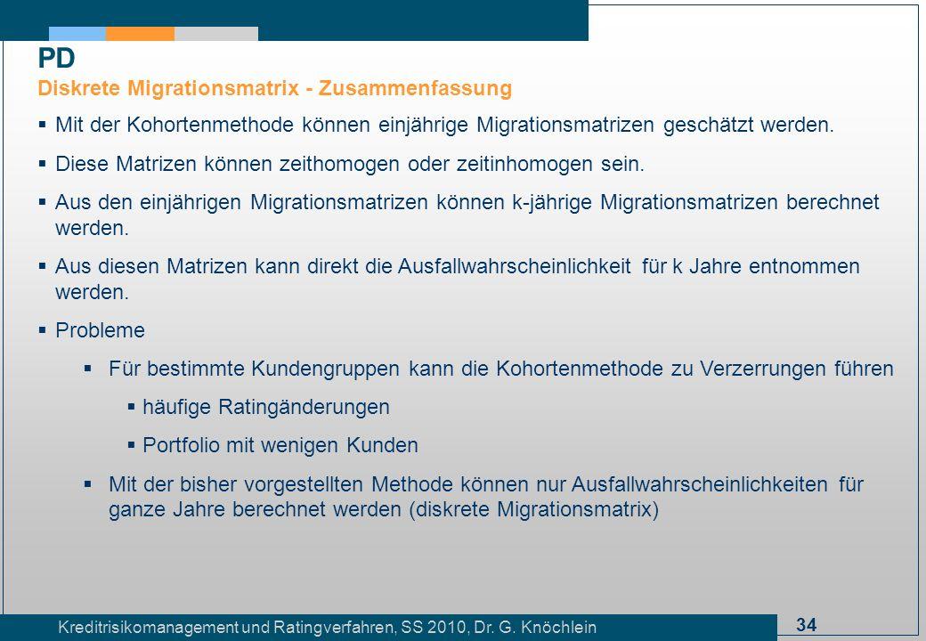 PD Diskrete Migrationsmatrix - Zusammenfassung
