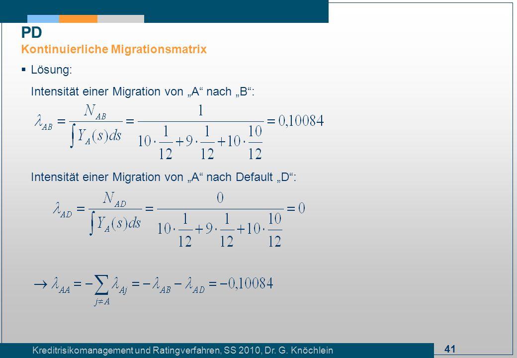 PD Kontinuierliche Migrationsmatrix Lösung: