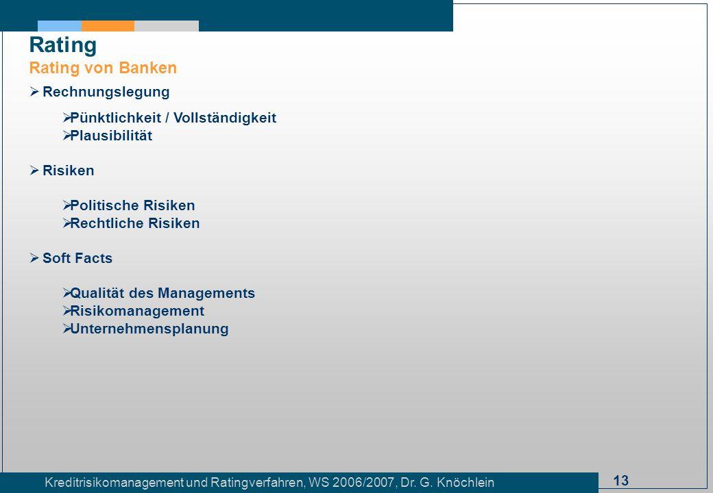Rating Rating von Banken Rechnungslegung