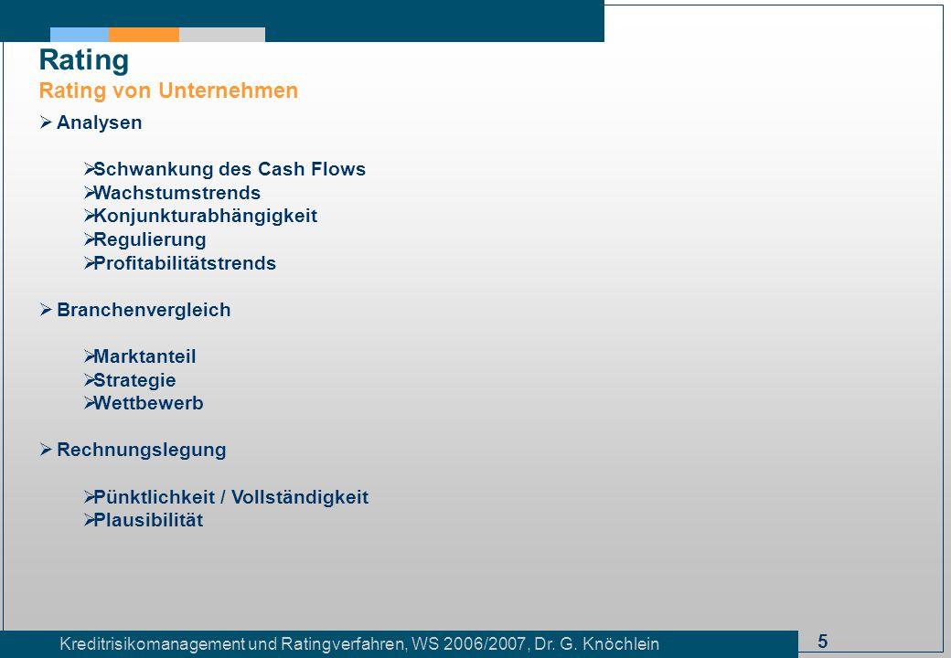 Rating Rating von Unternehmen Analysen Schwankung des Cash Flows