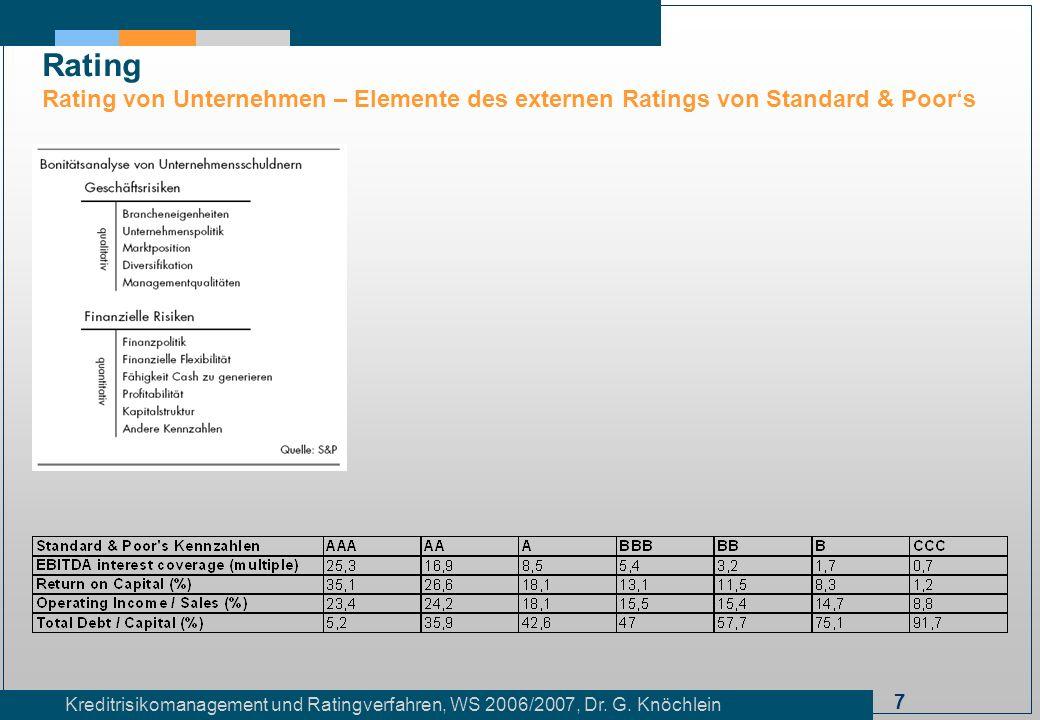 Rating Rating von Unternehmen – Elemente des externen Ratings von Standard & Poor's