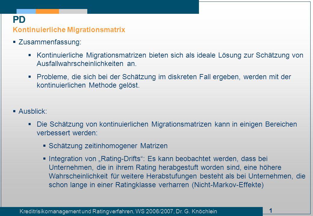 PD Kontinuierliche Migrationsmatrix Zusammenfassung:
