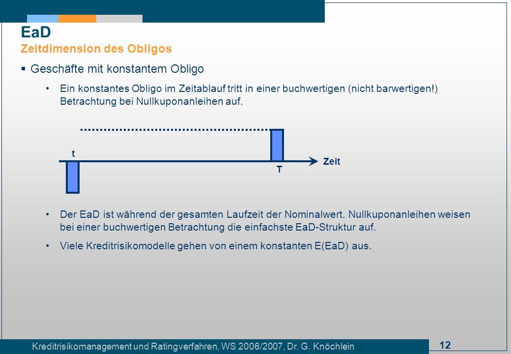 EaD Zeitdimension des Obligos Geschäfte mit konstantem Obligo