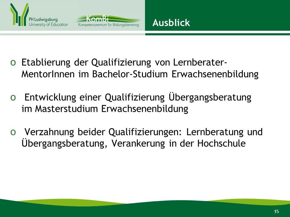AusblickEtablierung der Qualifizierung von Lernberater-MentorInnen im Bachelor-Studium Erwachsenenbildung.
