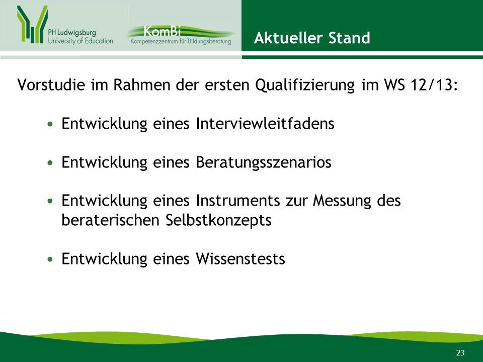 Aktueller StandVorstudie im Rahmen der ersten Qualifizierung im WS 12/13: Entwicklung eines Interviewleitfadens.