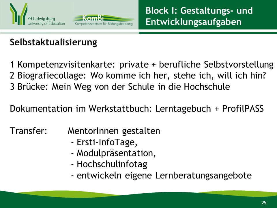 Block I: Gestaltungs- und Entwicklungsaufgaben