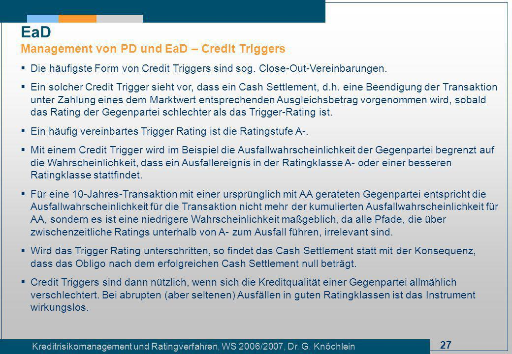 EaD Management von PD und EaD – Credit Triggers