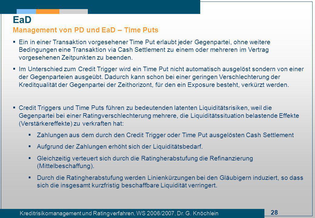 EaD Management von PD und EaD – Time Puts