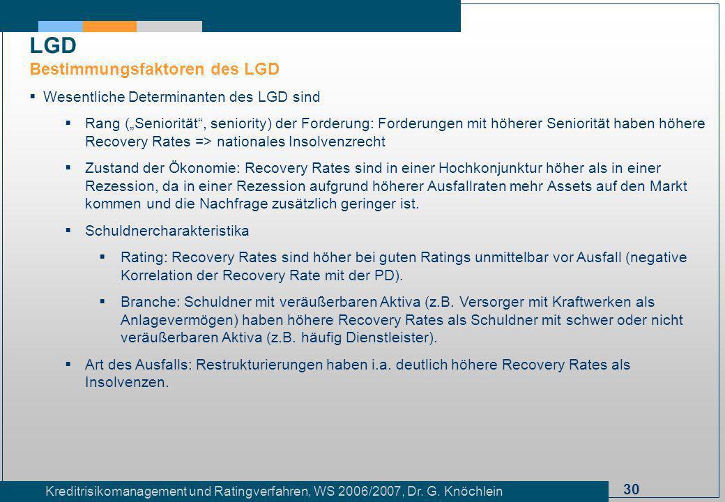 LGD Bestimmungsfaktoren des LGD Wesentliche Determinanten des LGD sind
