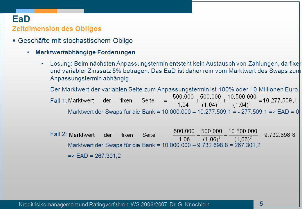 EaD Zeitdimension des Obligos Geschäfte mit stochastischem Obligo