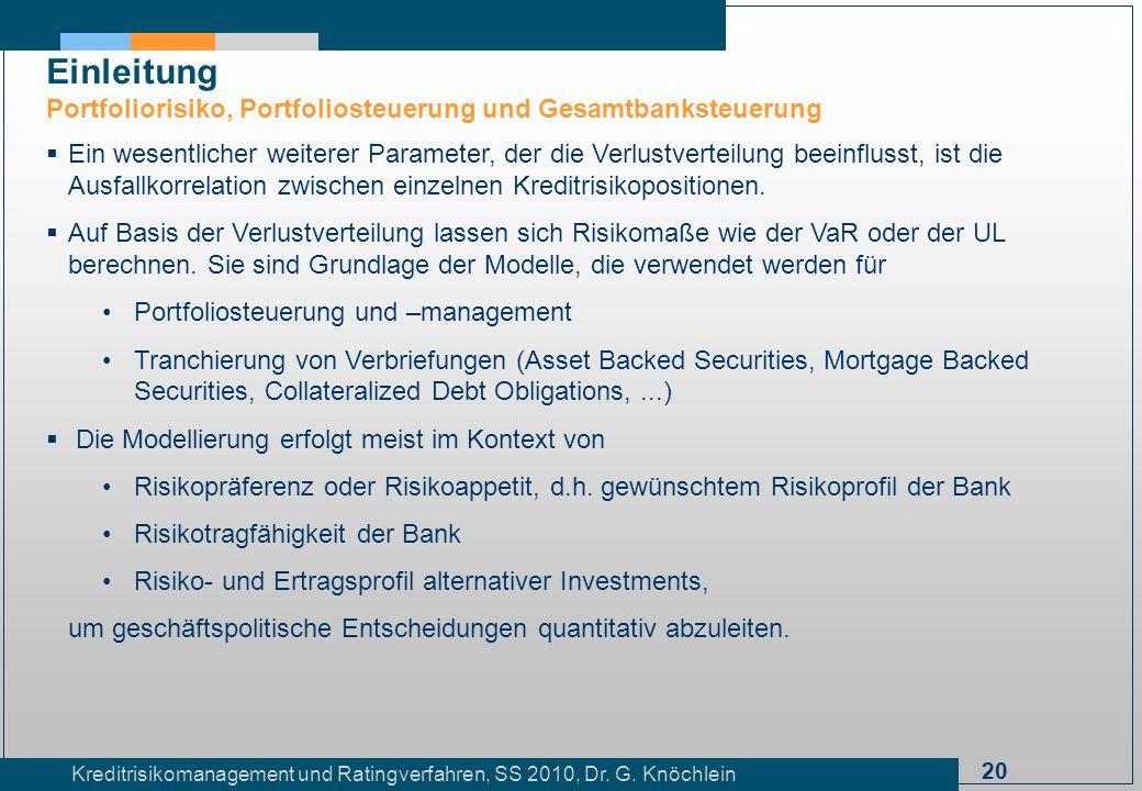 Einleitung Portfoliorisiko, Portfoliosteuerung und Gesamtbanksteuerung