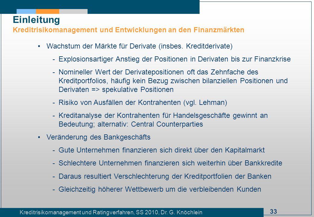Einleitung Kreditrisikomanagement und Entwicklungen an den Finanzmärkten. Wachstum der Märkte für Derivate (insbes. Kreditderivate)