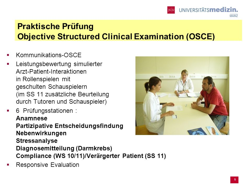 Praktische Prüfung Objective Structured Clinical Examination (OSCE)