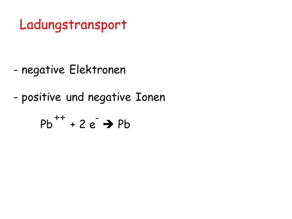 Ladungstransport - negative Elektronen - positive und negative Ionen
